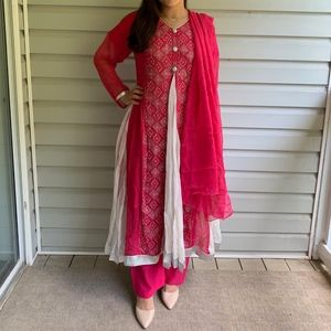 Hot Pink Indian/Pakistani Anarkali Suit